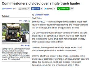 Commissioners discuss contracted trashservice